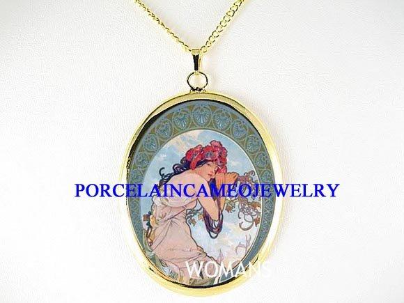 ALPHONSE MUCHA FLOWER LADY PORCELAIN CAMEO NECKLACE