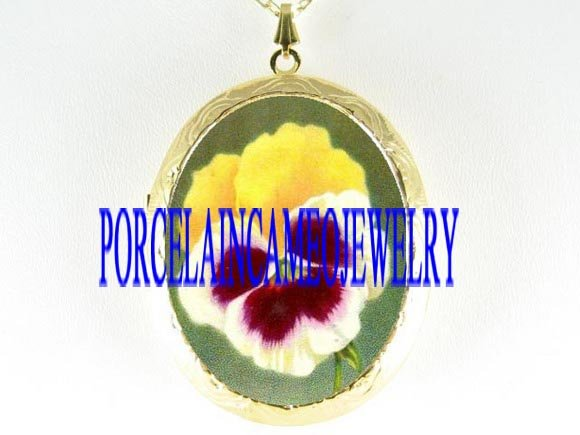 2 COLOR SWEET PANSY PORCELAIN CAMEO LOCKET NECKLACE