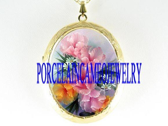 PINK YELLOW POPPY DAISY PORCELAIN CAMEO LOCKET NECKLACE