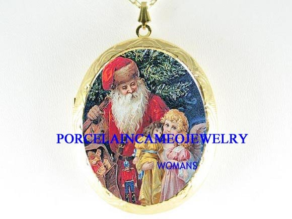 VICTORIAN SANTA WITH ANGEL DOLL PORCELAIN CAMEO LOCKET