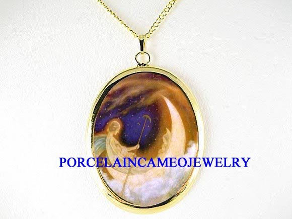 ANGEL MOON MOM BABY BOAT CAMEO PORCELAIN NECKLACE