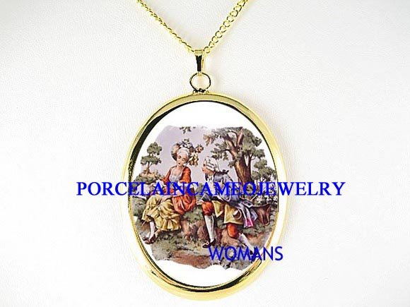 VICTORIAN ERA COURTING COUPLE CAMEO PORCELAIN NECKLACE-21