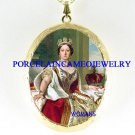CROWN QUEEN VICTORIA PORCELAIN CAMEO LOCKET NECKLACE