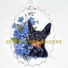 miniature pinscher DOG FORGET ME NOT CAMEO PORCELAIN NECKLACE