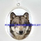 GREY WOLF WOLVES SNOW CAMEO PORCELAIN LOCKET NECKLACE