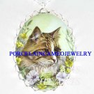 TABBY CAT BUTTERFLY FLOWER PORCELAIN CAMEO NECKLACE