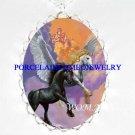 2 BLACK UNICORN PEGASUS HORSE CAMEO PORCELAIN NECKLACE