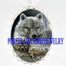 GREY WOLF MOM CUDDLE BABY CUB CAMEO PORCELAIN NECKLACE