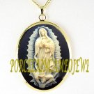 3D CATHOLIC OUR LADY OF GUADALUPE ANGEL CAMEO NECKLACE