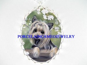 YORKSHIRE TERRIER DOG CHERRY CAMEO PORCELAIN NECKLACE