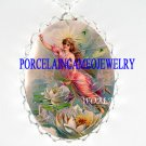 VICTORIAN LOTUS TOOTH FAIRY PORCELAIN CAMEO NECKLACE