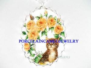 TABBY CAT ROSE BUTTERFLY CAMEO PORCELAIN NECKLACE