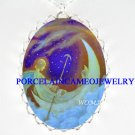 ANGEL FAIRY MOM BABY MOON BOAT PORCELAIN CAMEO NECKLACE