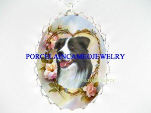 BORDER COLLIE DOG HEART ROSE CAMEO PORCELAIN NECKLACE