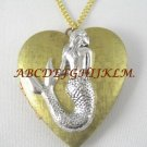 2 TONE SILVER SEA MERMAID VINTAGE ANTIQUE HEART LOCKET NECKLACE