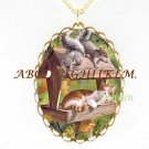TABBY CAT  PLAY WITH SQUIRREL PORCELAIN CAMEONECKLACE