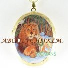 CHRISTIAN LION AND LAMB PORCELAIN CAMEO LOCKET NECKLACE