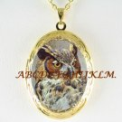 BEAUTIFUL HORNED OWL VINTAGE ANTIQUE SMALL LOCKET NECKLACE