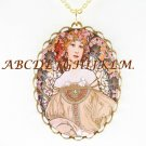 ALPHONSE MUCHA PINK FLOWERLADY PORCELAIN CAMEO NECKLACE