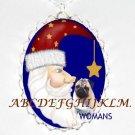 PUG DOG SANTA MOON CHRISTMAS CAMEO PORCELAIN NECKLACE