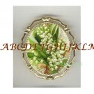 MAY LILY OF THE VALLEY PORCELAIN CAMEO PIN BROOCH