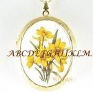 PRETTY DAFFODIL FLOWER PORCELAIN CAMEO LOCKET NECKLACE