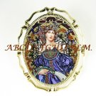 ALPHONSE MUCHA BLUE LADY CAMEO PORCELAIN PIN BROOCH