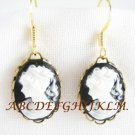 3D BLACK WHITE VICTORIAN MAIDEN VINTAGE CAMEO EARRING
