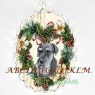 SCHNAUZER DOG CHRISTMAS HEART PORCELAIN CAMEO NECKLACE