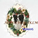 PAPILLON DOG CHRISTMAS WREATH PORCELAIN CAMEO NECKLACE