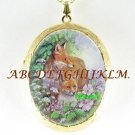 RED FOX MOM BABY FLOWER CAMEO PORCELAIN LOCKET NECKLACE