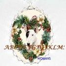 BULL TERRIER CHRISTMAS WREATH PORCELAIN CAMEO NECKLACE