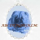 DANISH BLUE CHOW CHOW DOG PORCELAIN CAMEO NECKLACE