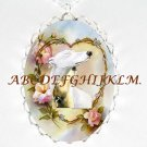 2 KISSING GREYHOUND ROSE HEART CAMEO PORCELAIN NECKLACE