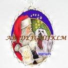 SANTA TICKLE MATLESE DOG CHRISTMAS  PORCELAIN NECKLACE