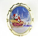 SANTA CAT WITH SLEIGH PORCELAIN CAMEO PIN BROOCH