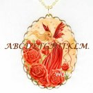 RED ROSE FLOWER FAIRY PORCELAIN CAMEO NECKLACE