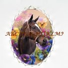 ZENYATTA HORSE SPRING PANSY CAMEO PORCELAIN PENDANT PIN BROOCH