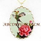 HUMMINGBIRD PINK ROSE PORCELAIN CAMEO PENDANT NECKLACE