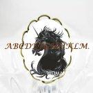 BLACK UNICORN HORSE CAMEO PORCELAIN ADJUSTABLE RING 5-9