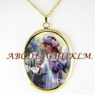CALLA LILY ANGEL GIRL PORCELAIN CAMEO PENDANT NECKLACE