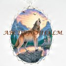 GREY WOLF HOWLING EAGLE WATERFALL PORCELAIN NECKLACE