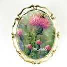 PINK THISTLE FLOWER BEE PORCELAIN CAMEO PIN BROOCH