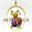3 COLORFUL PURPLE PANSY PORCELAIN CAMEO LOCKET NECKLACE