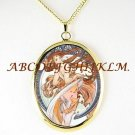 ALPHONSE MUCHA dancing LADY PORCELAIN CAMEO NECKLACE