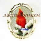 RED CARDINAL BIRD SNOW CAMEO PORCELAIN PIN BROOCH
