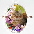 MAINE COON CAT PANSY PPORCELAIN CAMEO PENDANT NECKLACE
