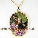 SIAMESE CAT PANSY BUTTERFLY PORCELAIN CAMEO NECKLACE