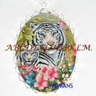 3 WHITE TIGER MOM BABY CUBS CAMEO PORCELAIN NECKLACE