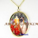 SIAMESE CAT HOLY POINSETTIA CANDLE PORCELAIN NECKLACE